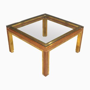 Vintage Italian Wood and Gilded Brass Coffee Table, 1970s
