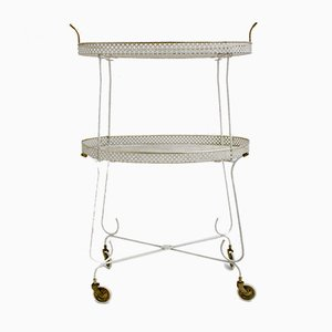Mid-Century French White Perforated Metal Bar Cart, 1950s