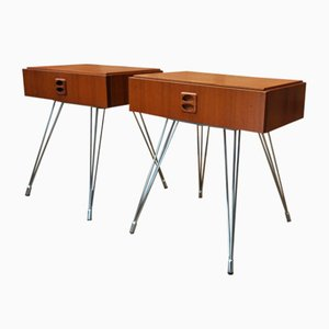 Teak and Chrome Nightstands, 1970s, Set of 2