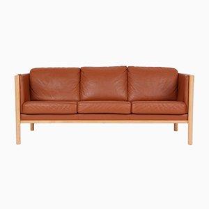 Vintage 3-Sitzer Sofa aus Massiver Buche & Leder