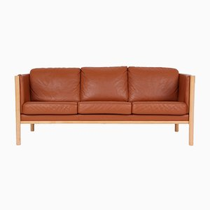 Vintage Solid Beech and Leather 3-Seater Sofa