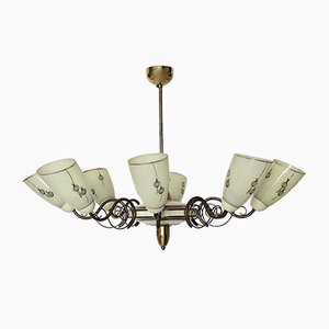 Mid-Century Italian Brass and Ivory Glass Chandelier, 1950s