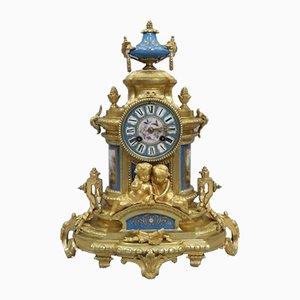 Reloj de repisa francés Napoleón III antiguo de bronce dorado y porcelana de Japy Freres, década de 1860