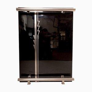 Mobile bar Art Deco laccato nero in metallo cromato e vetro, Francia, anni '30