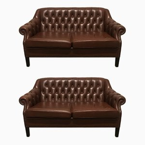 Mid-Century Chesterfield Style Sofas, Set of 2