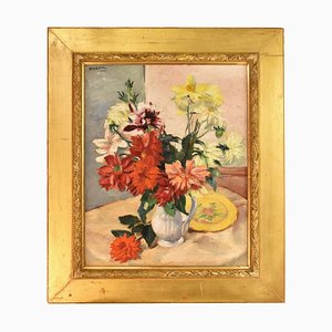 Art Deco Still Life Oil Painting by Charles Kvapil, 1930s