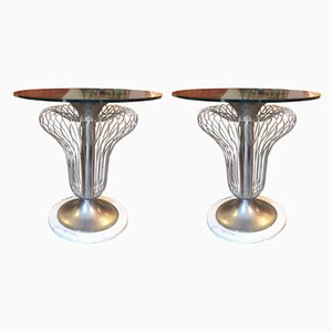 Iron and Glass Coffee Tables, 1970s, Set of 2