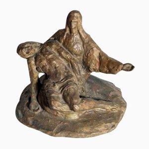 Kleine antike italienische La Pietà Skulptur aus Bronze von Stefano Landi