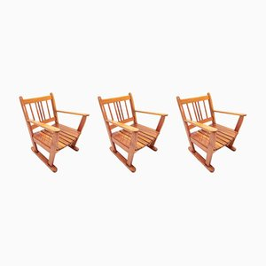 Antique Monastery Armchairs, Set of 3