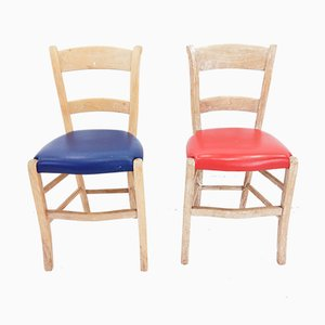 Blue and Red Pinewood Dining Chairs, 1960s, Set of 2