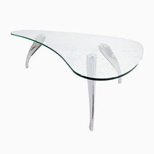 Mesa de centro riñón de vidrio y aluminio fundido, años 80