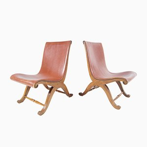 Cognac Leather Club Chairs, 1920s, Set of 2