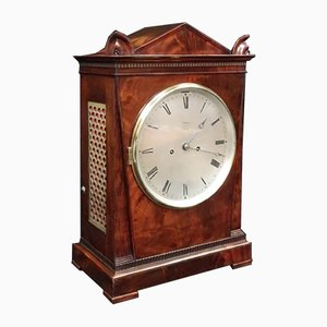 Antique George IV English Mahogany Bracket Clock from Hampson & Son, 1820s