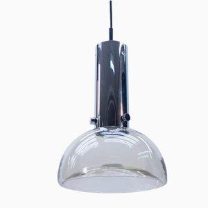 Lámpara de techo alemana de vidrio y cromo de Limburg, años 60