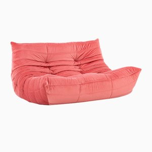 Pink Velvet Togo Sofa by Michel Ducaroy for Ligne Roset, 1970s