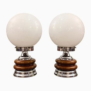 Vintage Chrome Table Lamps, 1979, Set of 2