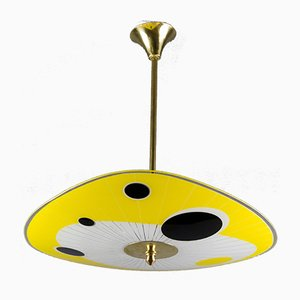 Vintage Yellow Glass Pendant Lamp, 1950s