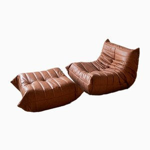 Vintage Togo Lounge Chair and Ottoman Set by Michel Ducaroy for Ligne Roset, 1970s