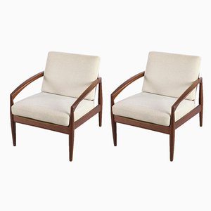 Model 121 Paper Knife Lounge Chairs by Kai Kristiansen for Magnus Olesen, 1950s, Set of 2