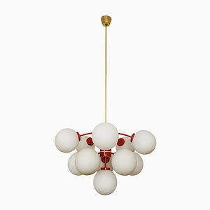 Large Opaline Glass Sputnik Chandelier, 1960s