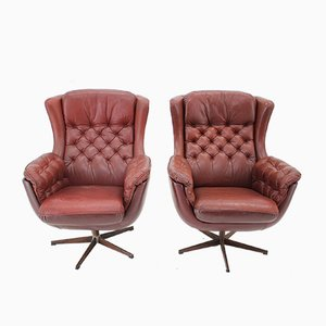 Scandinavian Leather Armchairs from Peem, 1970s, Set of 2