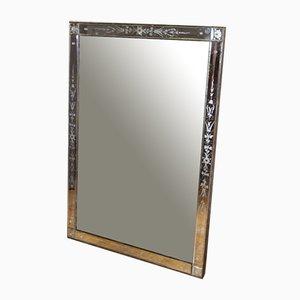 Antiker venezianischer Spiegel mit Rahmen aus geätztem Glas