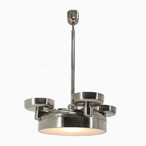 Lampada da soffitto Bauhaus in metallo cromato, anni '30