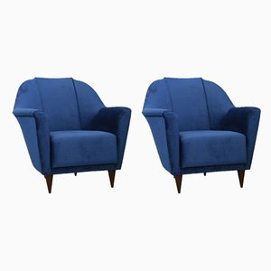 Velvet Lounge Chairs by Ico Parisi for Ariberto Colombo, 1950s, Set of 2
