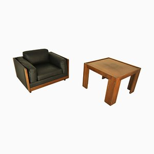 Leather and Wood Lounge Chair and Coffee Table Set by Tobia & Afra Scarpa for CASSINA, 1960s
