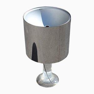 Lámpara de mesa de acero y metacrilato de Guzzini, años 70