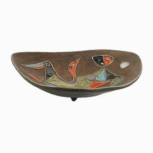 Oval Carved & Glazed Ceramic Bowl by Marcello Fantoni, 1950s