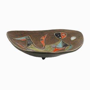 Ovale geschnitzte glasierte Keramikschale von Marcello Fantoni, 1950er