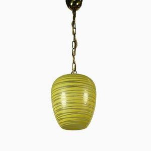 Lámpara colgante de vidrio, años 50