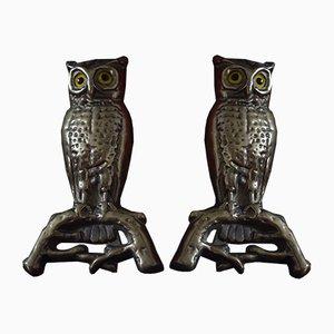 Antique Brass Owl Andirons, Set of 2
