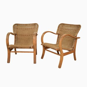 Beech & Woven Rope Lounge Chairs by Erich Dieckmann, 1920s, Set of 2