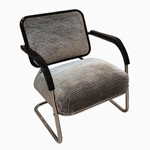 Bauhaus German Black Lacquer and Velvet Cantilever Lounge Chair, 1930s