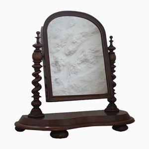Antiker viktorianischer Toilettenspiegel mit Rahmen aus Mahagoni