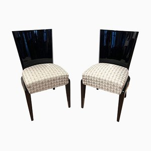 Art Deco French Black Lacquer and Gray Fabric Side Chair, 1930s
