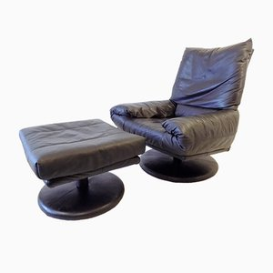 Leather Lounge Chair with Ottoman from Rolf Benz, 1980s