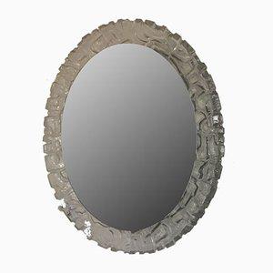 Großer deutscher ovaler Vintage Spiegel von ERCO Leuchten ME