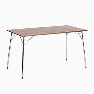 Mesa de trabajo de teca y cromo de Piet Hein para Fritz Hansen, años 60
