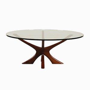 Mesa de centro de madera y vidrio, años 60