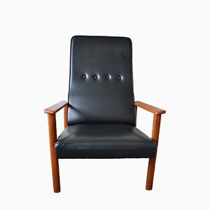 Mid-Century Black Vinyl and Teak Armchair, 1960s