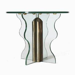 Tavolino vintage in vetro e ottone