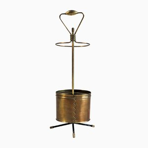 French Golden Brass Umbrella Stand by Mathieu Matégot, 1950s