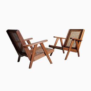 Moderne Armlehnstühle aus Teak, 1950er, 2er Set