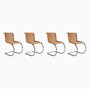 Rattan MR10 Dining Chairs by Ludwig Mies van der Rohe for Knoll Inc. / Knoll International, 1970s, Set of 4