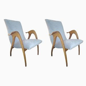 Velvet Lounge Chairs from Malatesta & Masson, 1950s, Set of 2
