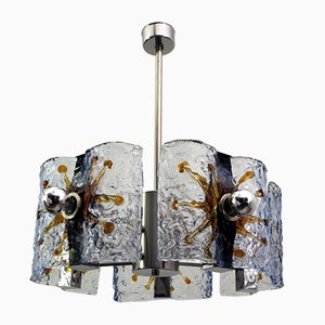 Murano Glass and Steel Ceiling Lamp from Mazzega, 1970s