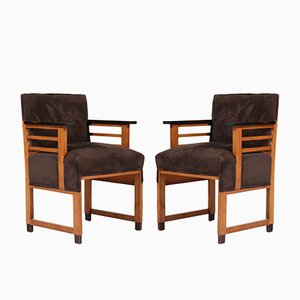 Art Deco Oak Armchairs from t Woonhuys, 1920s, Set of 2